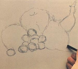 Deseneaza conturul fructelor