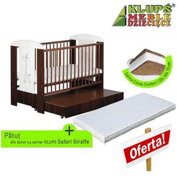 Patut bebe si copii din lemn cu sertar si saltea inclusa – Safari Giraffe Venge