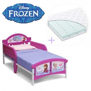 Patut copii Disney Frozen cu saltea inclusa si cadru metalic