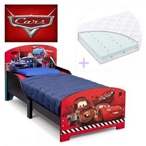Set pat cu cadru din lemn Disney Cars si saltea pentru patut Dreamily