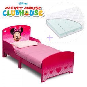 Acest set contine un pat cu cadru din lemn Minnie Mouse si o saltea pentru patut Dreamily cu dimensiunea de 140 x 70 x 10 cm