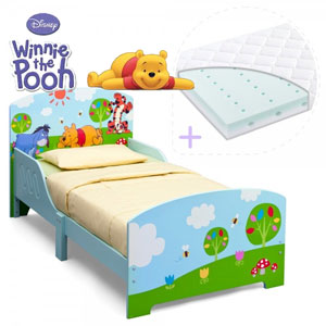 Set pat cu cadru din lemn Disney Winnie si saltea pentru patut Dreamily