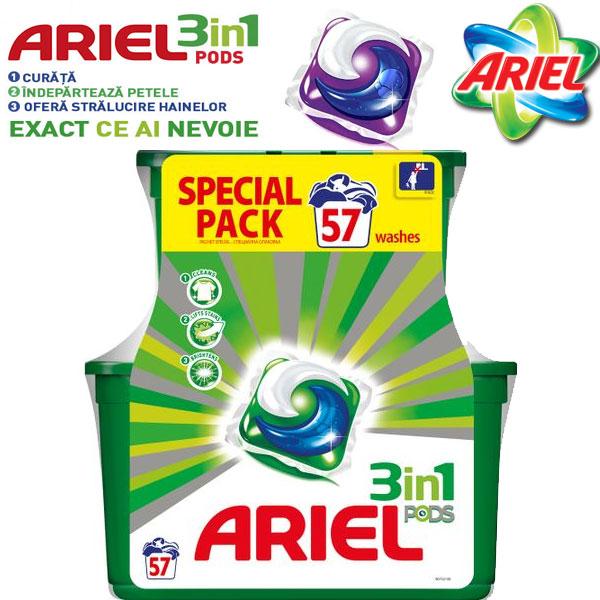 Detergent capsule Ariel 3in1 PODS, 57 spalari varianta economica Family Pack