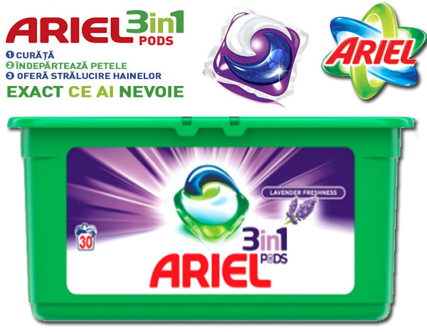 Detergent capsule Ariel 3in1 PODS Lavanda, 30 spalari