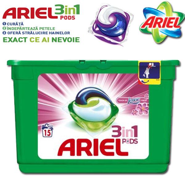Detergent capsule Ariel 3in1 PODS Touch of Lenor, 15 spalari cel mai ieftin