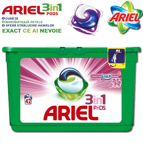 Detergent capsule Ariel 3in1 PODS Touch of Lenor, 42 spalari